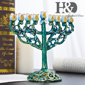 Image 3 - H & D handgeschilderde Chanoeka Menorah Joodse Lamp 9 Tak Jeruzalem Tempel Joodse Kaarshouder Chanukah Kandelaars Decoratie