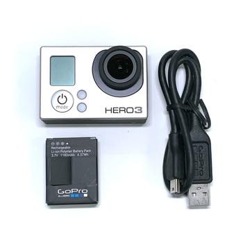 GoPro HERO3 Hero 3 Silver Edition шытырман оқиғалы фотокамерасы үшін 100% түпнұсқа, аккумуляторы және қуат кабелі 95% жаңа
