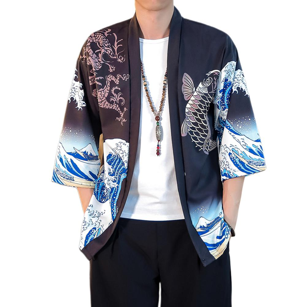 MISSKY Summer Spring Lovers Man Shirt White Black Color Casual Shirts Large Size Printing Middle Sleeve Loose Tops Male Clothes