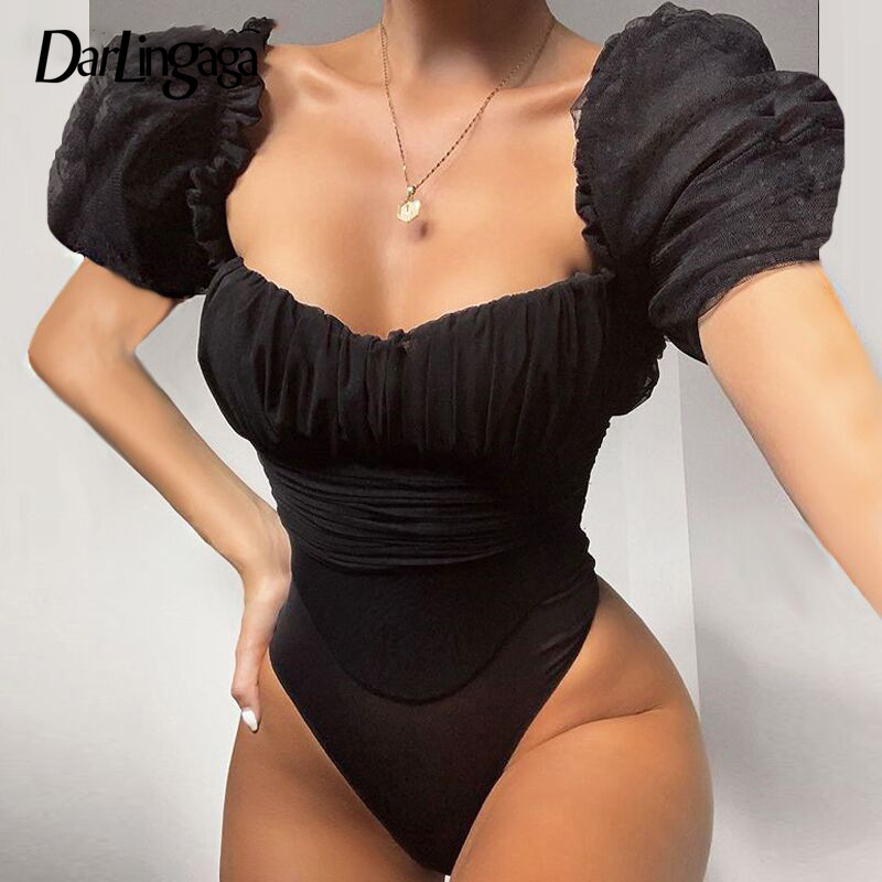 Darlingaga Square Neck Fashion Mesh Bodysuit Women Fashion Sexy Body Puff Sleeve Ruched Party Bodysuits Tops Summer Jumpsuit New