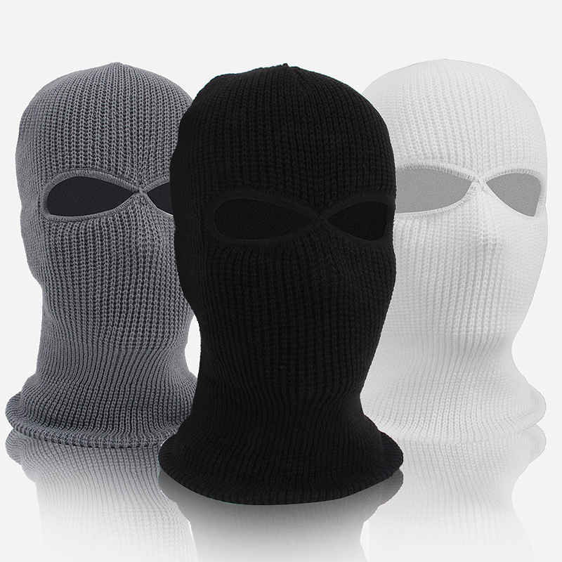 Meihuida Winter 2 Hole Mask Balaclava Soft Knit Hat Face Shield Beanie Cap Outdoor Activity Ski Motorcycle Bicycle Warm Wear