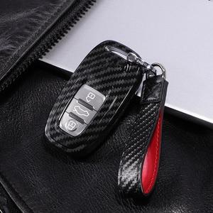 Image 1 - Carbon Fiber + Pc Bescherming Auto Sleutel Cover Case Voor Audi A6L A4L Q5 A3 A4 B6 B7 B8 Smart carbon Fiber Grain Shell Accessoires