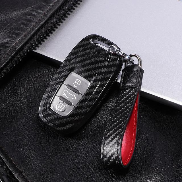 Carbon Fiber + Pc Bescherming Auto Sleutel Cover Case Voor Audi A6L A4L Q5 A3 A4 B6 B7 B8 Smart carbon Fiber Grain Shell Accessoires