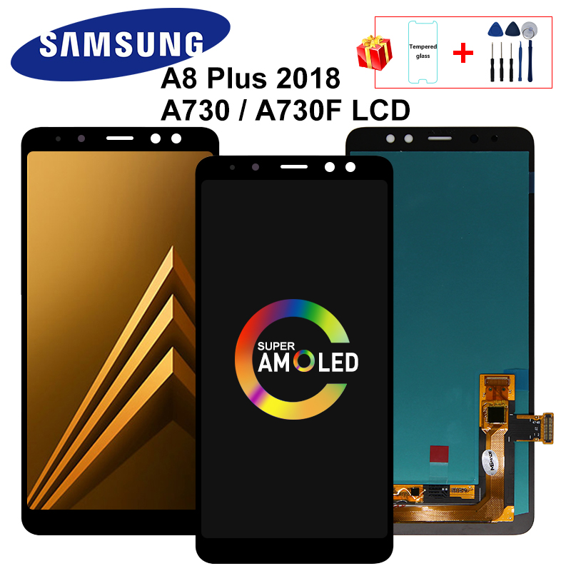 Super AMOLED A8 Plus 2018 Display For Samsung Galaxy A730 LCD A730F SM-A730F Display Touch Screen Digitizer Replacement Parts