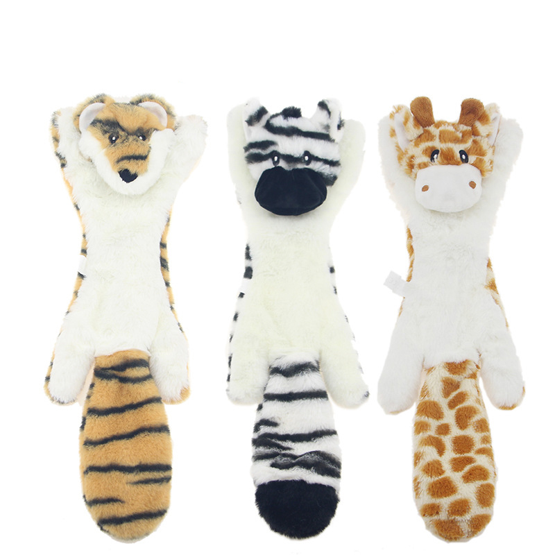 Funny Plush Pets Squeaky Toys Animal Shape Fox Lion Rabbit Soft Small Medium Dogs Chew Internective Toy Pet Accessories