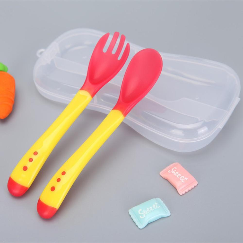 1 шт. детская посуда для кормления ложка с датчиком температуры вилка безопасная силиконовая детская посуда ложки для кормления 6 цветов - Цвет: Spoon Fork Set 3