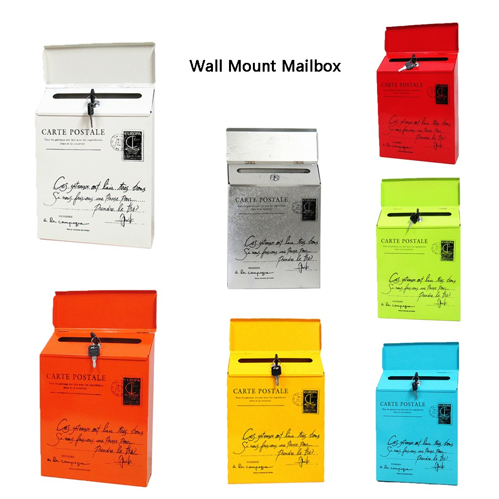 Vintage Retro Wall Mount Mailbox Mail Postal Letter Newspaper Box Waterproof-0
