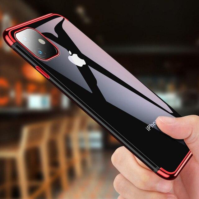 전기 도금 케이스 iPhone 11 Pro 7 8 6 6s s Plus 12 iPhone X XR XS Max 쉘용 투명 소프트 실리콘 도금 커버