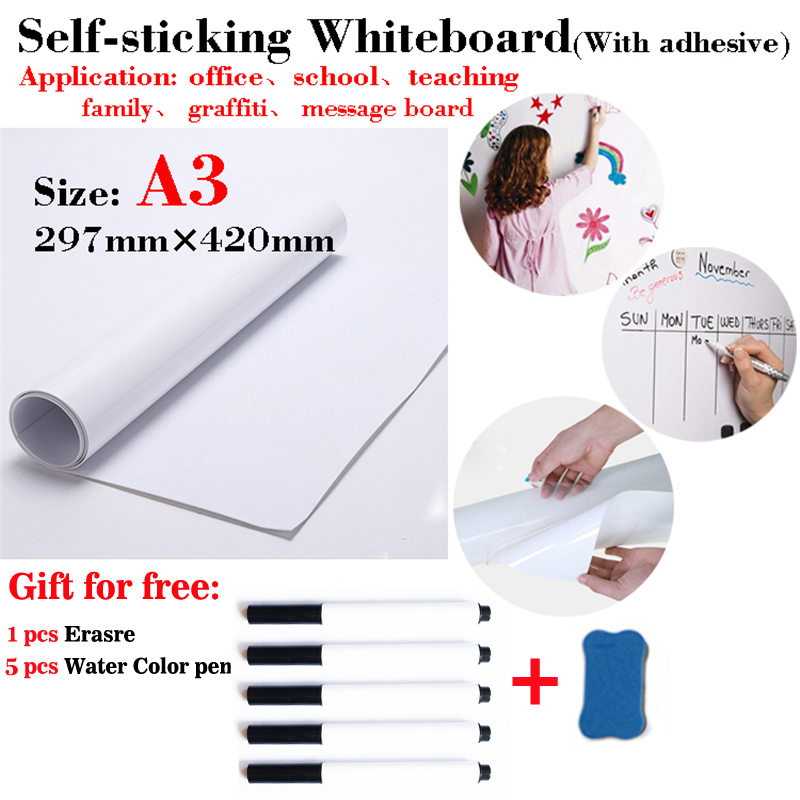 Self-sticking Whiteboard Fridge Sticker Flexible Dry Erase White Board School Home Office Kitchen Message Board With Adhesive