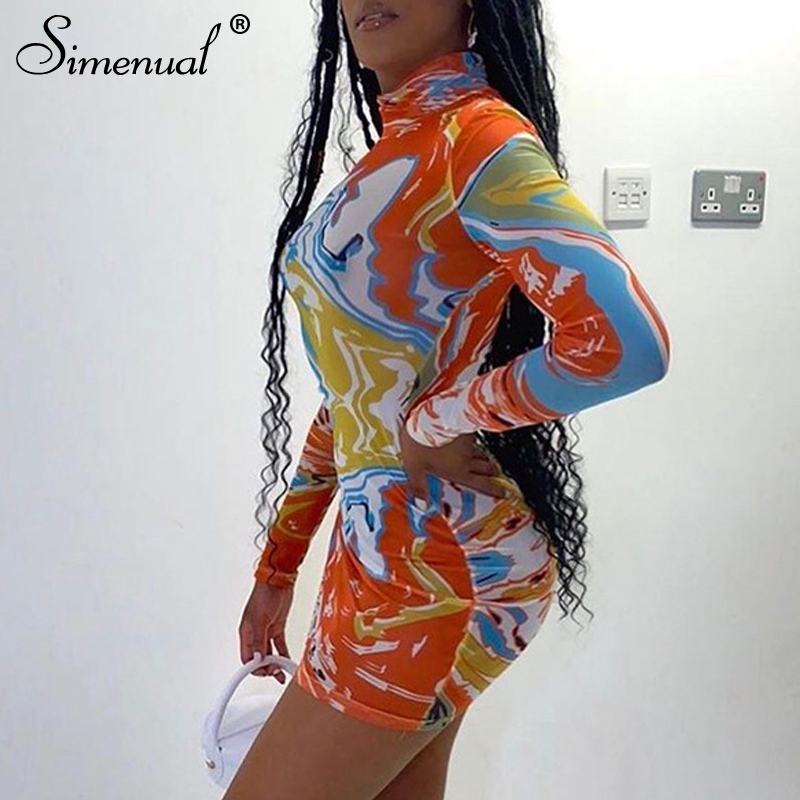 Simenual Bodycon Printed Long Sleeve Party Dress Women Fashion Clubwear Skinny 2020 Autumn Bodycon Mini Dresses Slim Turtleneck