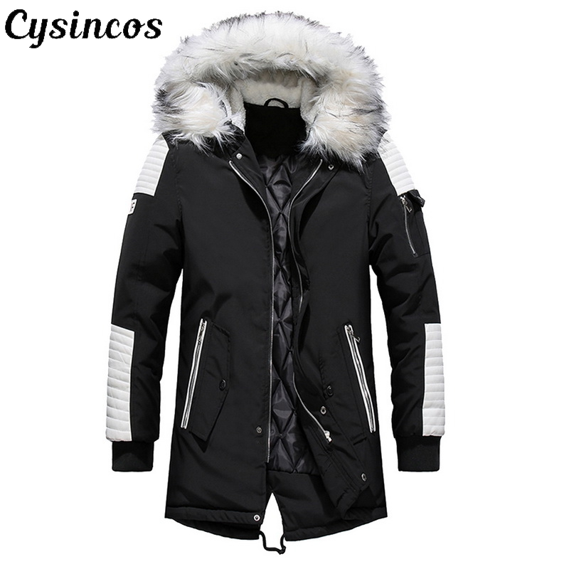 CYSINCOS Brand New Winter Jacket Men Thicken Warm Parkas Casual Long Outwear Hooded Collar Jackets Coats Men Veste Homme