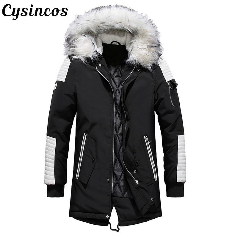 CYSINCOS flambant neuf veste d'hiver hommes épaissir chaud Parkas décontracté longue Outwear à capuche col vestes manteaux hommes veste homme
