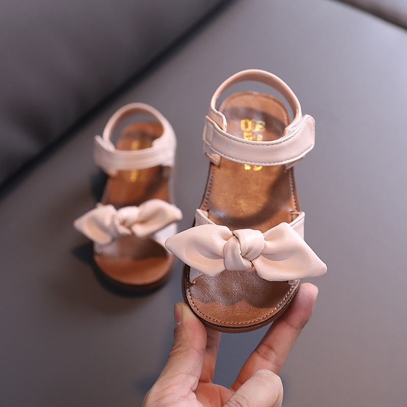 2020 New Toddler Summer Shoes Little Kids Baby Girl Fashion Bow Leather Sandals Princess Non-Slip Beach Sandals 1 2 3 4 5 6 Year