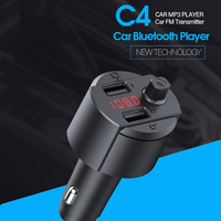 Ottwn Fast Charging 3.1A Dual USB C4 Bluetooth Handsfree Car Charger Wireless FM Transmitter bluetooth car charger MP3 player
