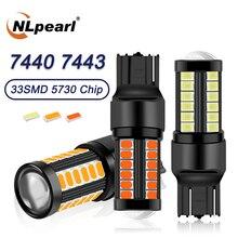 цена на NLpearl 2x 12V-24V Signal Lamp T20 7440 W21W Led Canbus Brake Light W21 5W 7443 Led 5630 33SMD Car Turn Reverse Backup Lights
