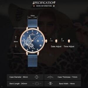 Image 4 - NAVIFORCE женские часы люксовый бренд reloj бабочка часы Модные Кварцевые женские сетки из нержавеющей стали водонепроницаемый подарок reloj muje