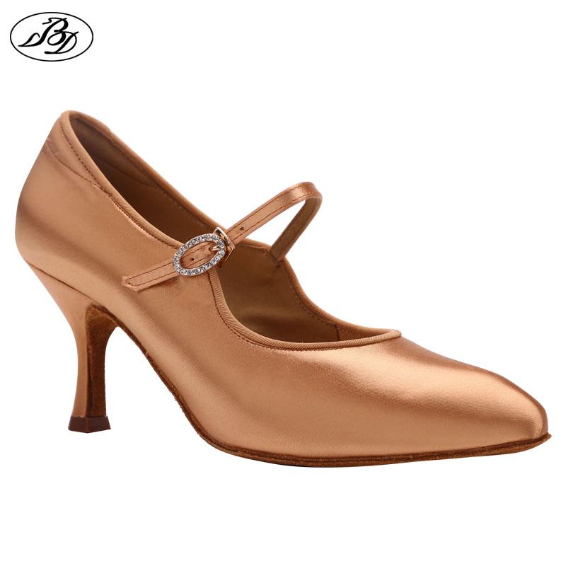 Women Ballroom Dance Shoes Rhinestone BD137 MOON Tan Satin High Heel Ladies Standard Dancing Shoes Anti Slip Outsole Dancesport