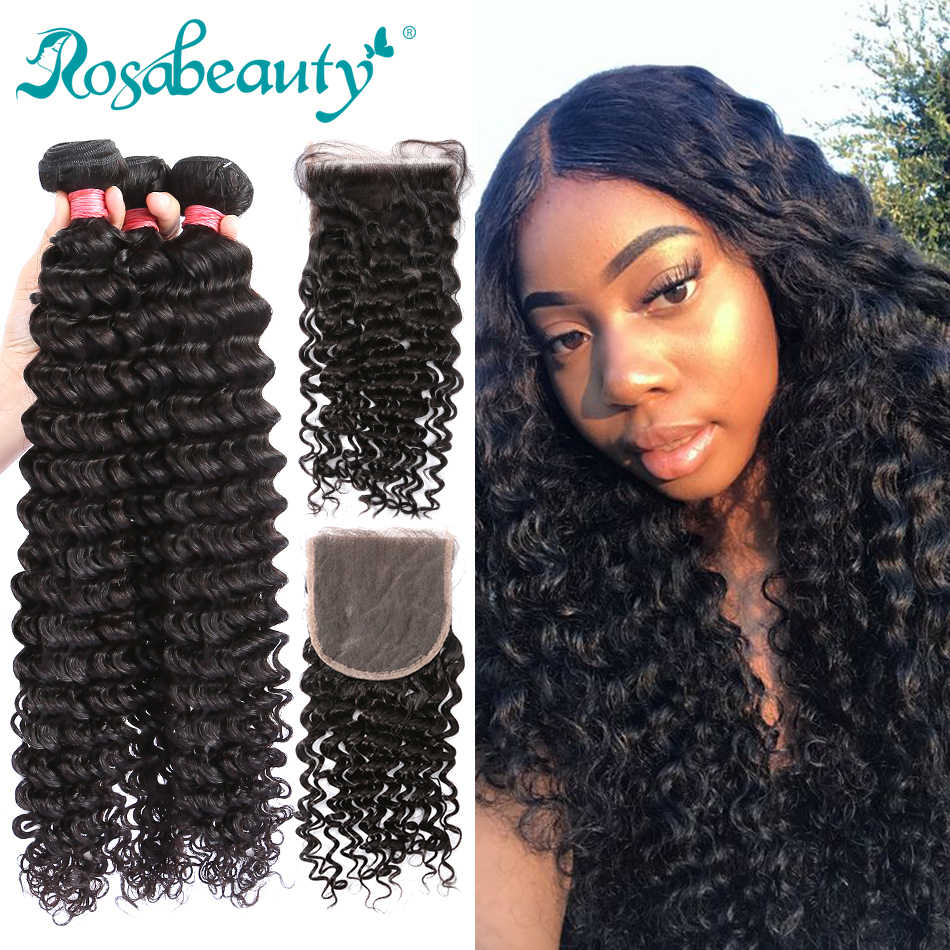 Rosabeauty 28 30 inch Deep Wave Bundles With Closure Peruvian Remy Human Hair Weaves Water Curly and 5X5 Lace Closure