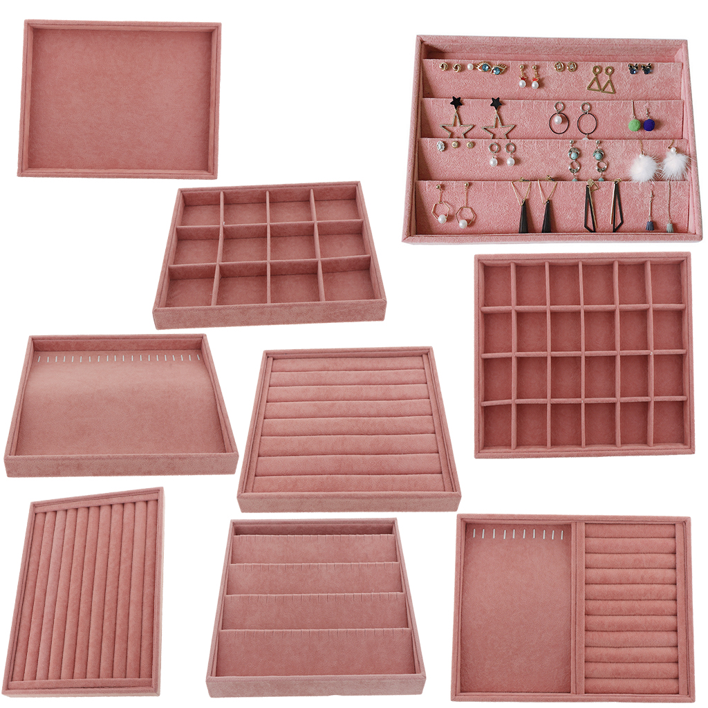 Velvet Jewelry Ring Display Organizer Case Tray Holder Necklace Earrings Bangle Jewellery Storage Jewelry Boxes Stand Pink