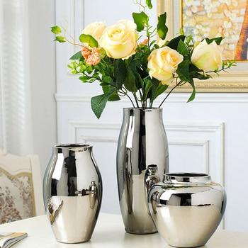 Silver vase home living room TV cabinet wine decoration ornaments soft art ceramic gold-plated Ceramic