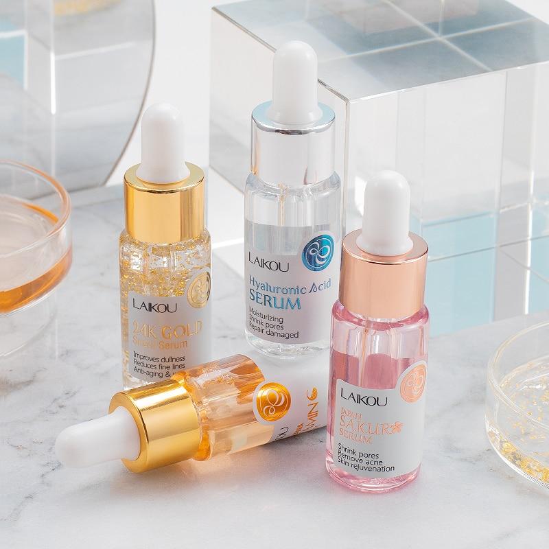 New Brand Face Serum Japan Sakura Essence Anti-Aging Hyaluronic Acid Pure 24K Gold Whitening Vitamin C Skin Care Face Serum