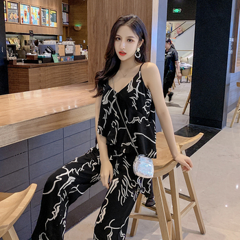 2020 summer clothes for women Printed V-neck camisole two piece set top and pants wide-leg pants suit fashion 2 piece set women 2 piece set women sports suit female summer 20 new loose hip hop foreign fashion two piece set tide two piece set top and pants