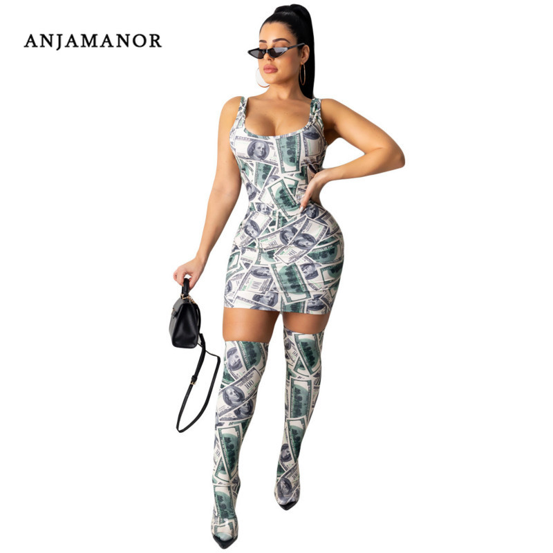 ANJAMANOR Sexy Money Print Sleeveless Mini Bodycon Dress With Stocking Casual Ladies Dresses Party Night Clubwear D91-AB06