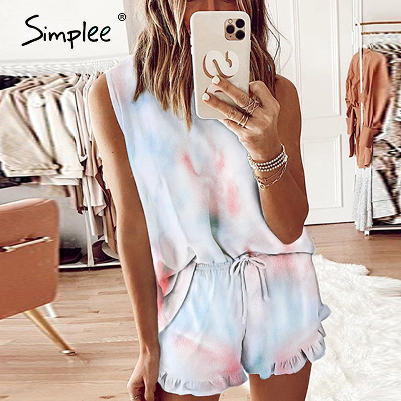 Simplee Casual Womens Tie-dye Set Sleepwear Loose Sportswear Household Clothing Summer Sleeveless Ladies Ruffle Suits 2020