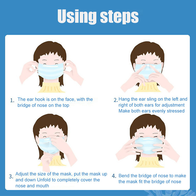 100Pcs Disposable Face Mask Breathable Dust Proof Respirator Masks Cover 3 Layers Non-Woven Earloop Face Mouth Masks 2