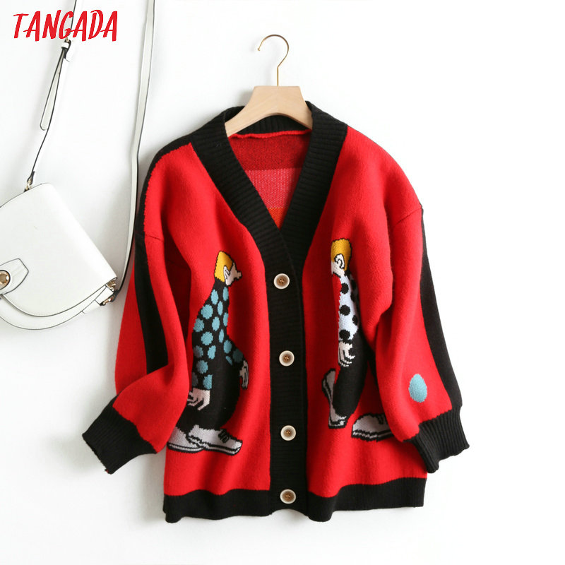 Tangada Women Cute Cartoon Cardigan Sweater Long Sleeve Buttons Female Thick Knit Sweaters Basic Red Black Grey Tops BC21