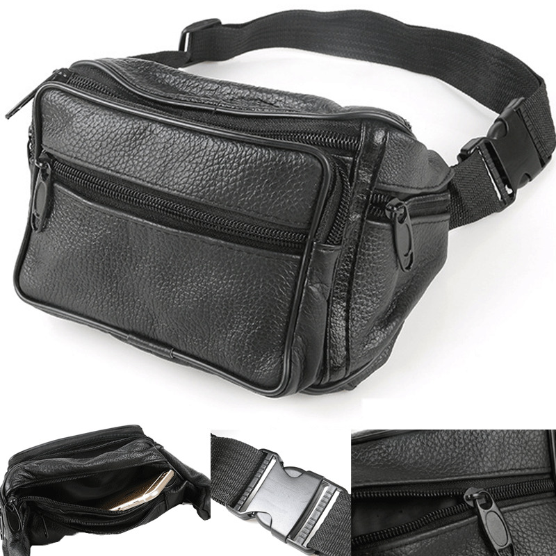 NoEnName-Null Men Vintage Leather Waist Fanny Pack Travel Outdoor Belt Bum Hip Pouch Chest Bag