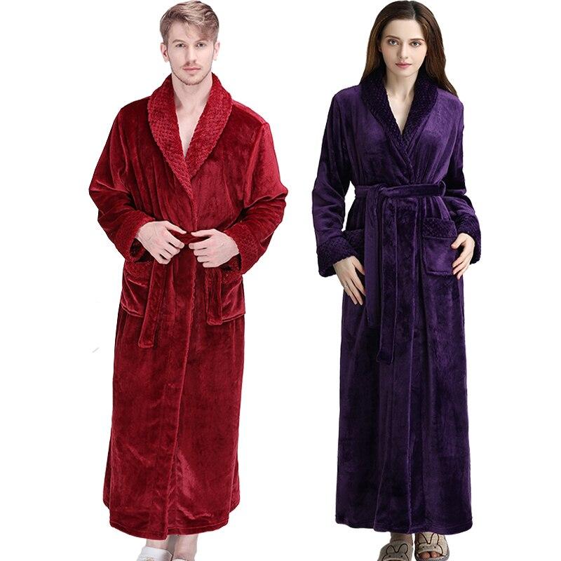 Image 5 - Women Men Thermal Luxury Flannel Extra Long Bath Robe Winter Sexy Grid Fur Bathrobe Warm Kimono Dressing Gown Bridesmaid Robes-in Robes from Underwear & Sleepwears
