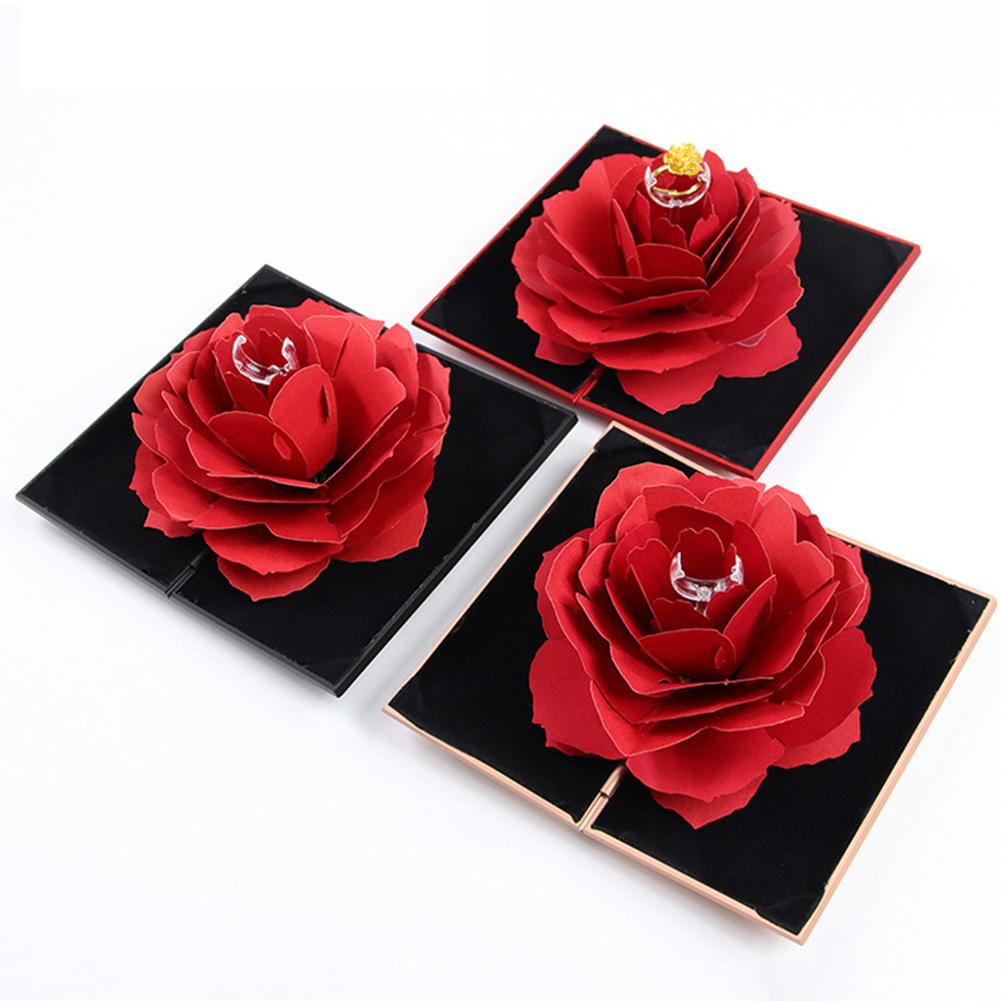 3D Vintage Fashion Elegant Rings Box Wedding Engagement Ring Rose Flower Gift For Jewelry Display Storage Holder
