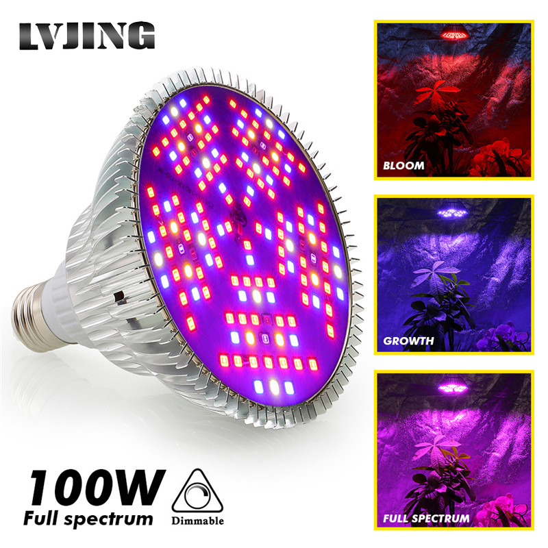 LVJING 100W LED Plant Grow Light E27 Full Spectrum Led Plants Growing Lamp Bulb Phyto For Vegetable Blooming Hydroponic Tent Box