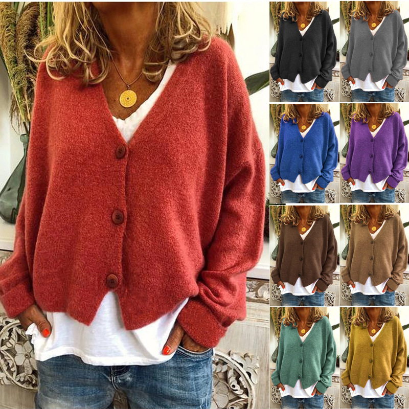 Fashion Casual Loose V-Neck Long Sleeve Open Sweater For Autumn Winter 2019 Female New Hot Sale With Button Cotton Sweaters Top