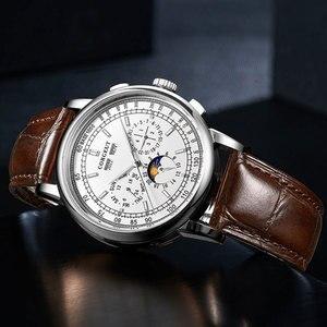 Image 5 - Berühmte Marke 42mm CORGEUT Weiß Zifferblatt Datum Tag Kaffee Lederband Multifunktions Automatische Herren Uhr Solide Edelstahl Fall