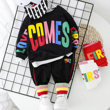 Fashion Baby Boy Clothing Set Letter T-Shirt + Pant 2PCS 2020 New Toddler Boys Spring Autumn Outwear 1 2 3 4 Year(China)