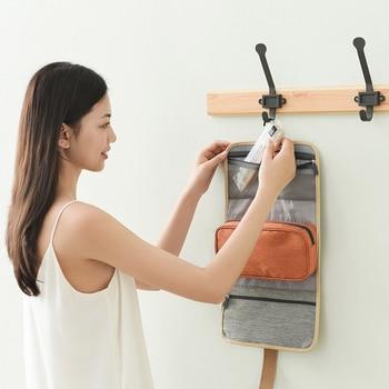 HMUNII nueva moda colgante bolsa de cosmética multifunción hombres mujeres plegable organizador bolsa de maquillaje neceser Wash de almacenamiento de bolsa de aseo