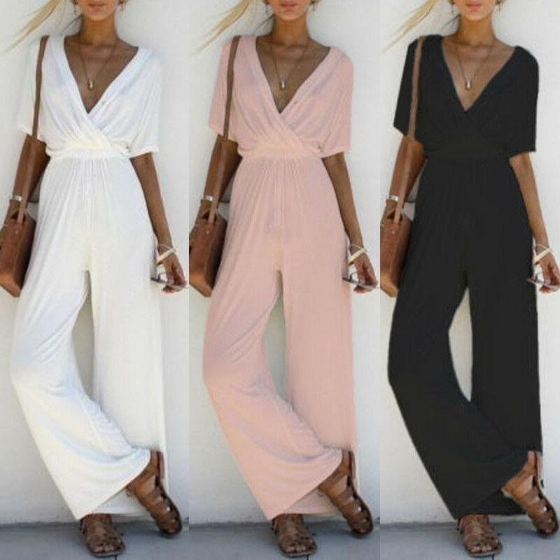 Goocheer Fashion Women V Neck Loose Playsuit Party Ladies Romper Short Sleeve Long Jumpsuit S-XL