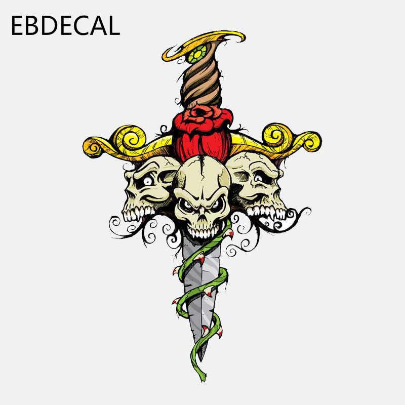 EBdecal Schwert Schädel Kopf Helm Auto Stoßstange Fenster Wand Koffer Aufkleber Aufkleber Decals DIY Decor CT7871