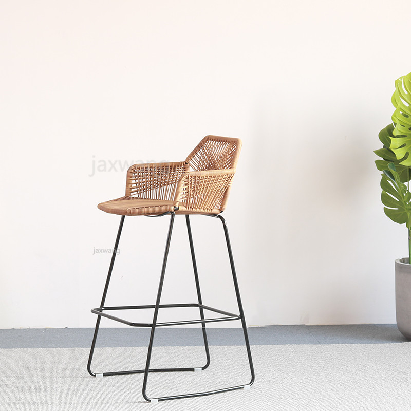 Nordic Bar Stool Combination Leisure Chair Rattan Bar Chair Wrought Iron Chair Gold High Table Stool Dining Chair
