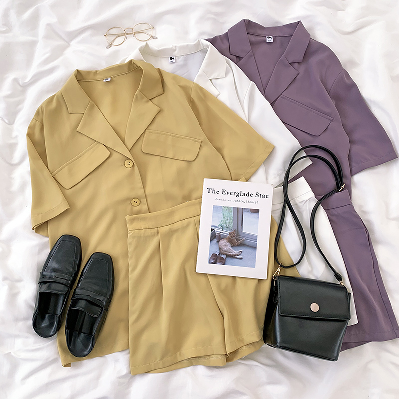 Summer Shorts Two Piece Set Light Comfortable Simple Fake Pocket Short Sleeve Suit Top + Elastic Waist Shorts Set