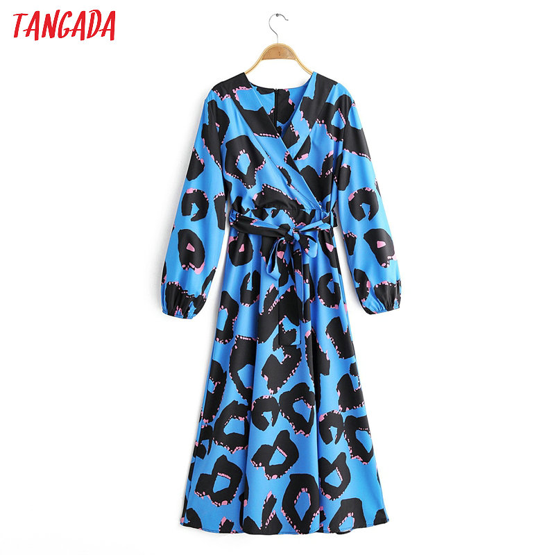 Tangada Women Elegant Leopard Blue Dress With Slash V Neck Zipper Long Sleeve Korean Fashion Office Lady Midi Dress Vestido 1F14