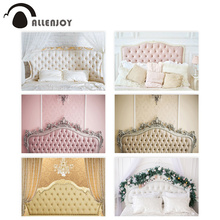 Allenjoy photography background boudoir pink tufted headboard backdrop Baby Shower Wedding Birthday photocall studio shoot prop