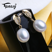 FENASY 18k Gold Drop Earrings Natural Freshwater Pearl Earrings For Women 18K Yellow Gold Au750 Wedding Engagement Jewelry