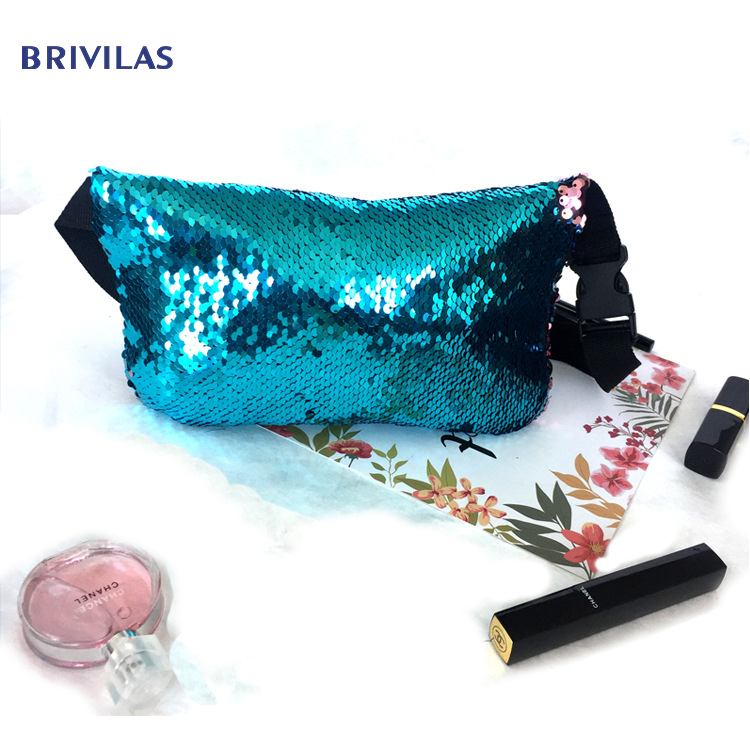 Brivilas Double Sided Sequins Belt Bag Women Fashion Trend Chest Waist Bags Shopping Beauty Travel Make Up Hand Pack Female Bag
