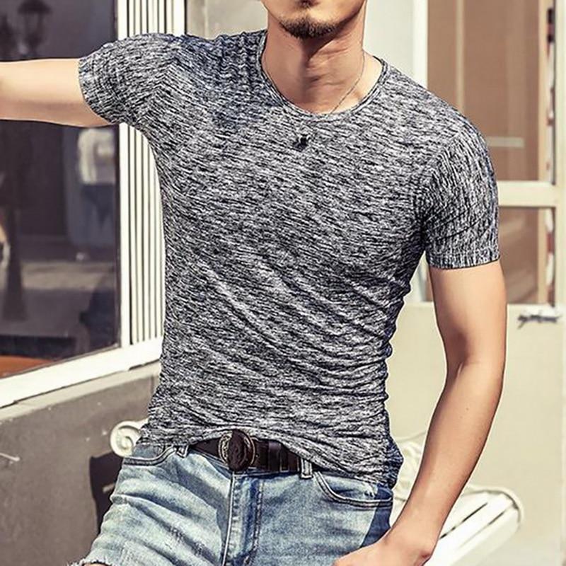 2020 Summer Solid Casual Men T-Shirts O-Neck Slim Fit Short Sleeve T Shirt  Top Tees Mens Clothing Korean Male Fitness Tshirt
