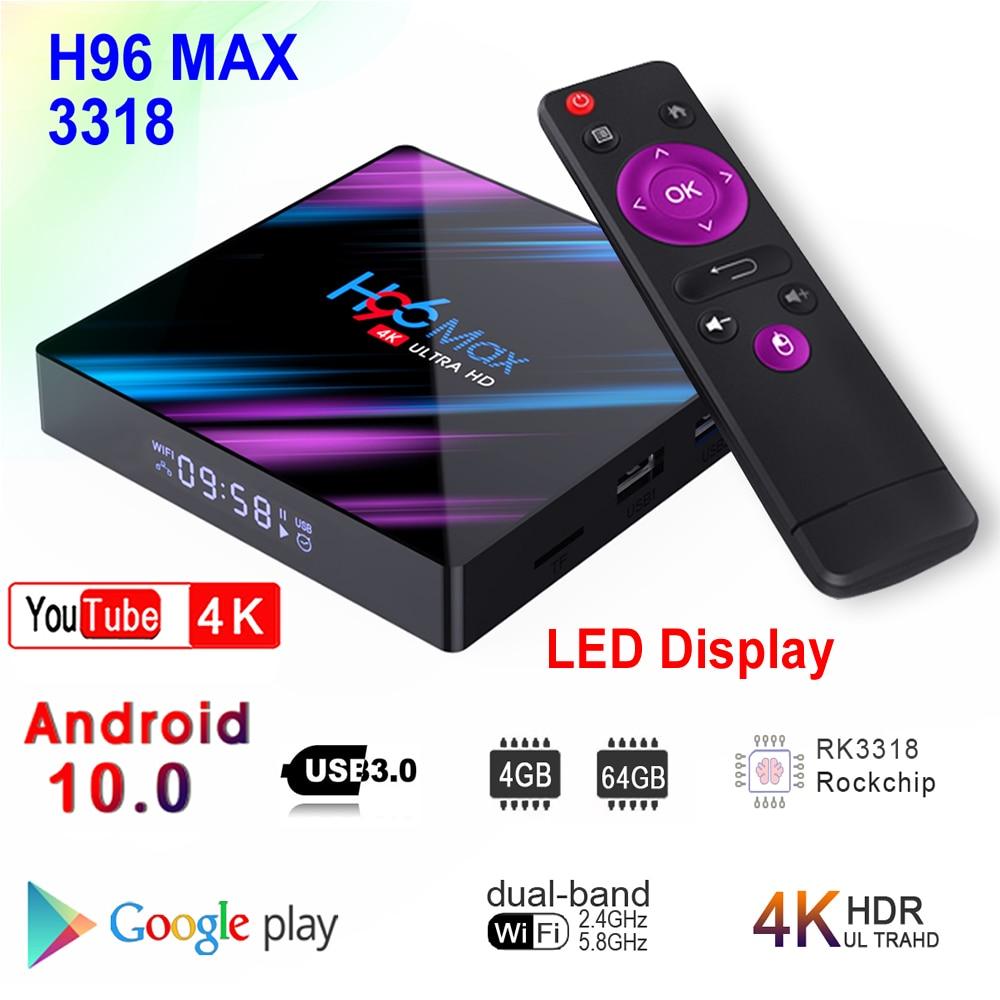 H96 MAX 3318 Android 10.0 Smart TV Box Rockchip RK3318 4GB RAM 64GB ROM BT4.0 USB3.0 2.4G 5G Dual WIFI 3D 4K HDR Media Player