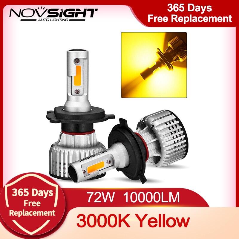 NOVSIGHT автомобильный головной светильник H4 светодиодный H1 H3 H7 H11 H8 H9 H13 9005 9006 9007 противотуманный Светильник 3000K желтый 10000LM 72 Вт Автомобильные ф...