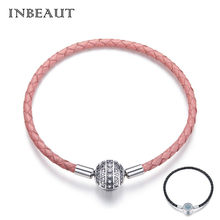 INBEAUT 100% 925 Sterling Silver Round White&Blue CZ Devil Eye Pink&Black Genuine Leater Bracelet Chain for Women Trendy Jewelry(China)